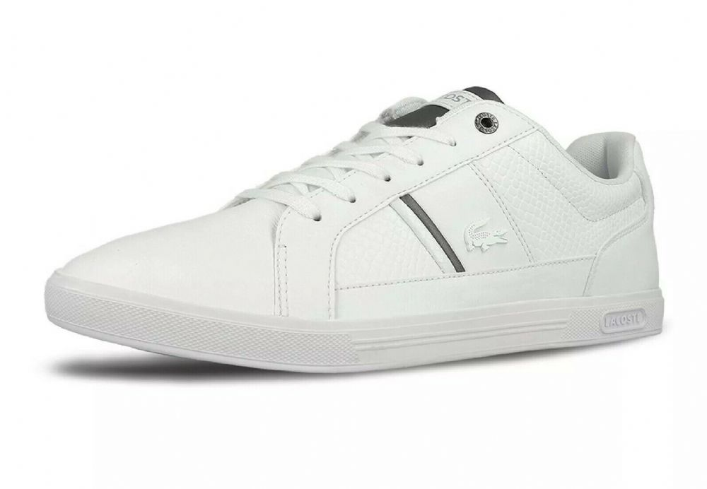 Lacoste Men's White Europa Leather Trainers Brand New Boxed free UK RM24 Deliver